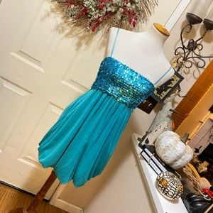 Ruby Rox Turquoise Sequin Mini Party Dress